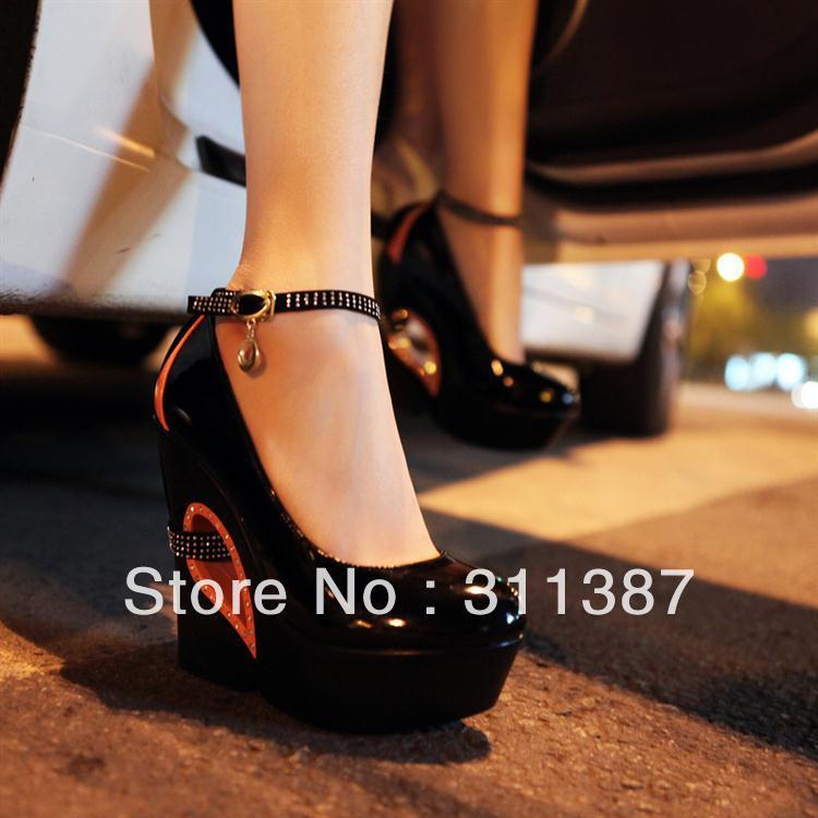 Free-drop-Shipping-belt-buckle-fashion-high-heels-Wedges-Ladies-platform-Pumps-Party-punk-shoes-woman